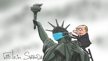 Новая карикатура Сергея Елкина «Путин и статуя Свободы» стала хитом сети